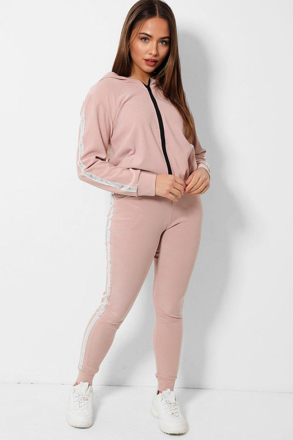 Disco Ball Sequins Stripe Pink 2 Piece Tracksuit - SinglePrice