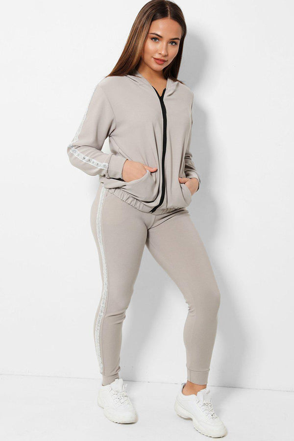 Disco Ball Sequins Stripe Grey 2 Piece Tracksuit - SinglePrice