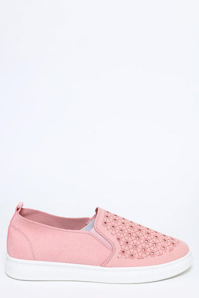 Pink Suedette Slip-On Trainers-SinglePrice