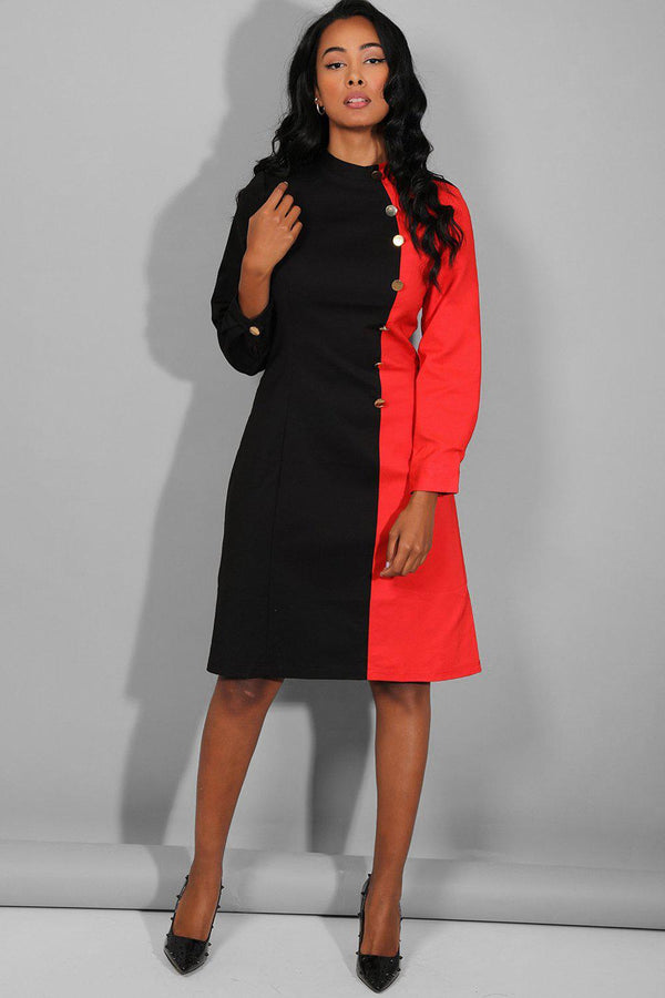Black Red High Neck Military Buttons Dress - SinglePrice