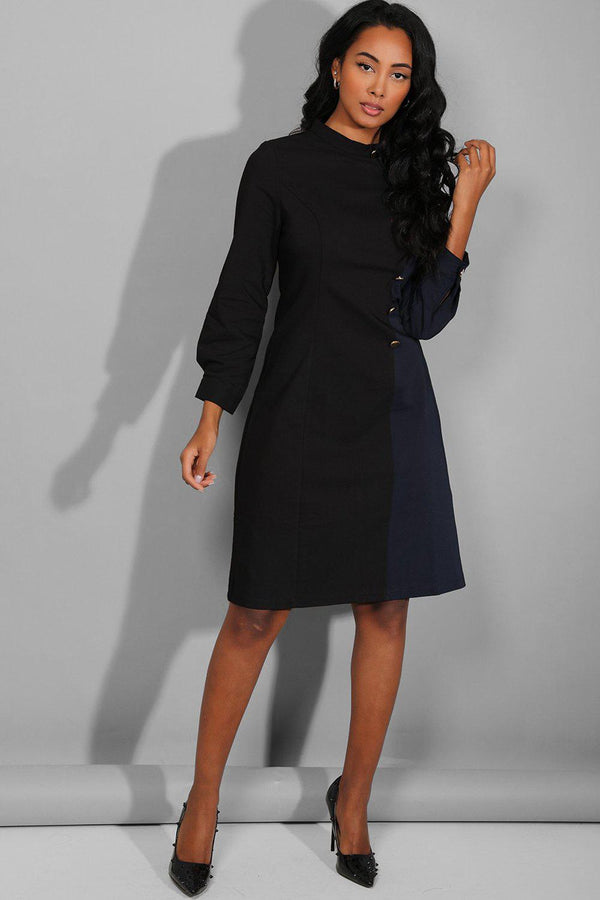Black Navy High Neck Military Buttons Dress - SinglePrice