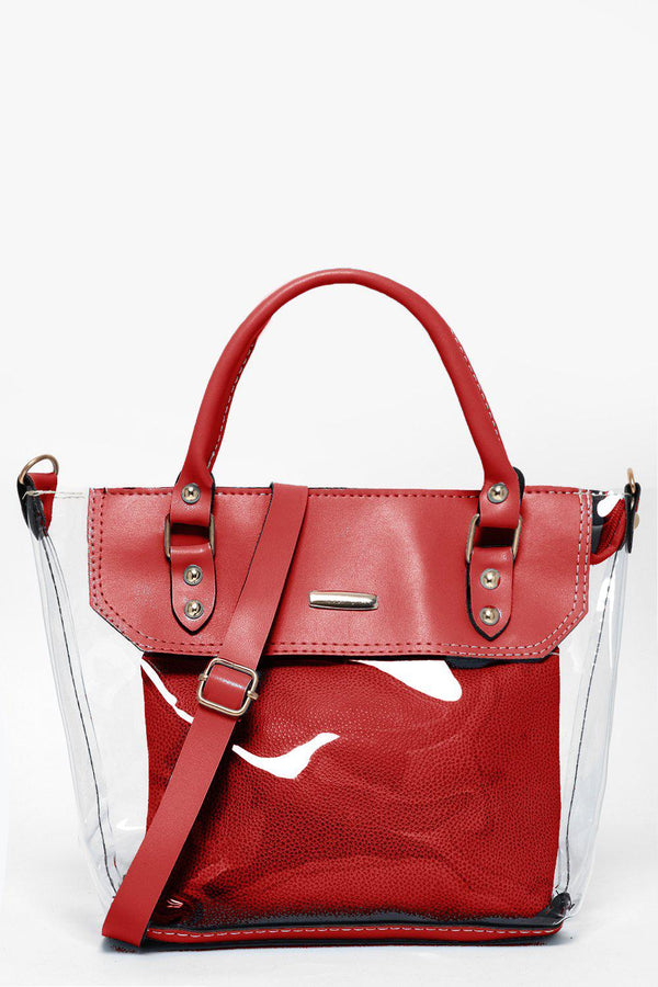 2-In-1 Red Perspex Small Tote-SinglePrice