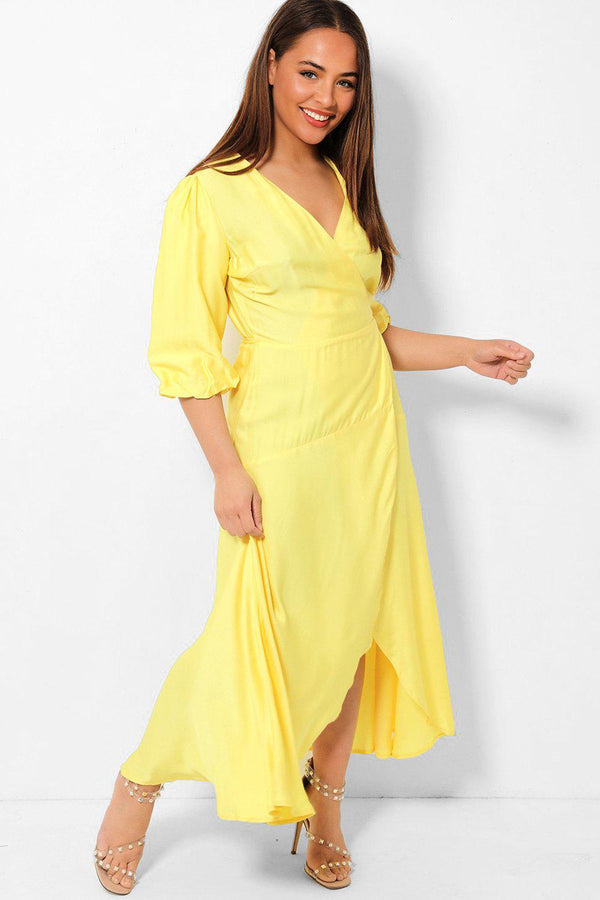 Bright Yellow Balloon Sleeves Maxi Wrap Dress - SinglePrice