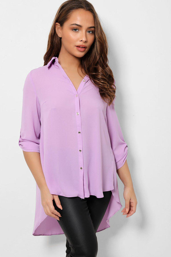 Lilac Dip Hem Roll Up Sleeves Chiffon Shirt-SinglePrice