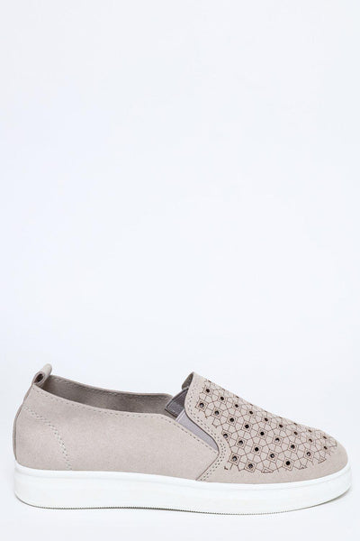Grey Suedette Slip-on Trainers-SinglePrice