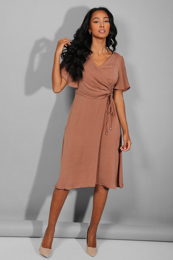 Light Brown Side Ruched Midi Dress - SinglePrice