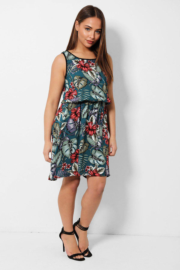 Teal Tropical Floral Print Sun Dress - SinglePrice