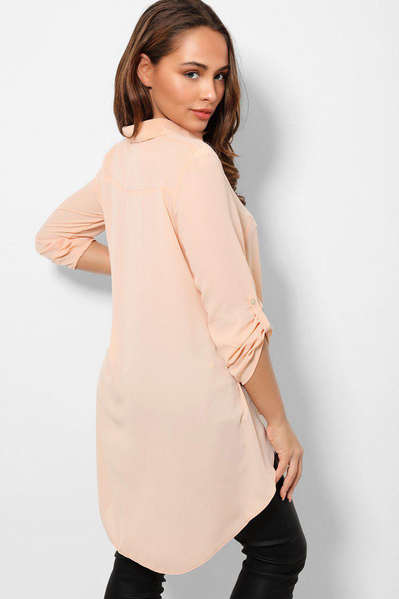 Peach Dip Hem Roll Up Sleeves Chiffon Shirt - SinglePrice