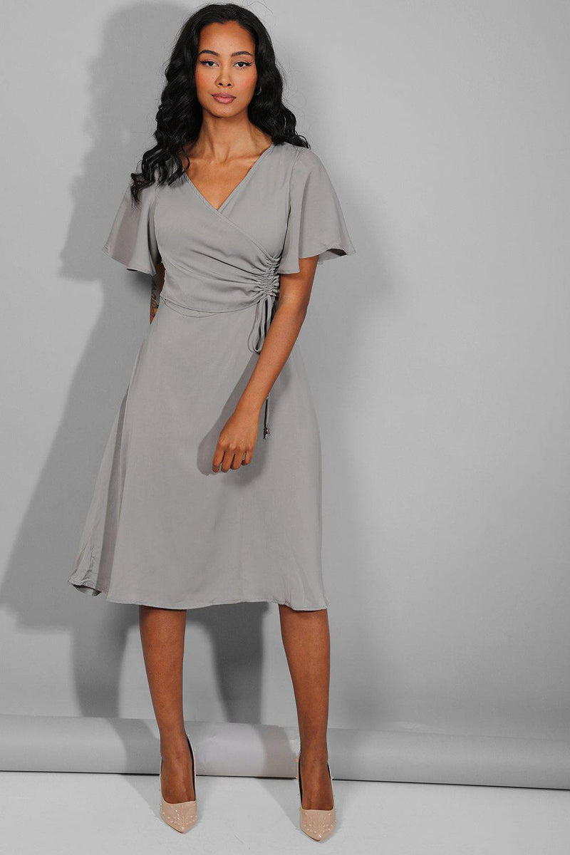 Grey Side Ruched Midi Dress - SinglePrice
