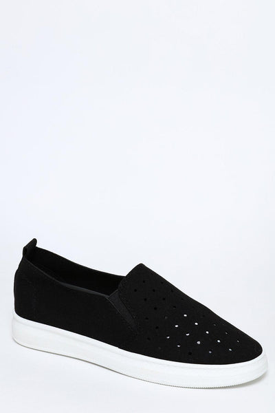 Black Suedette Slip-On Trainers-SinglePrice