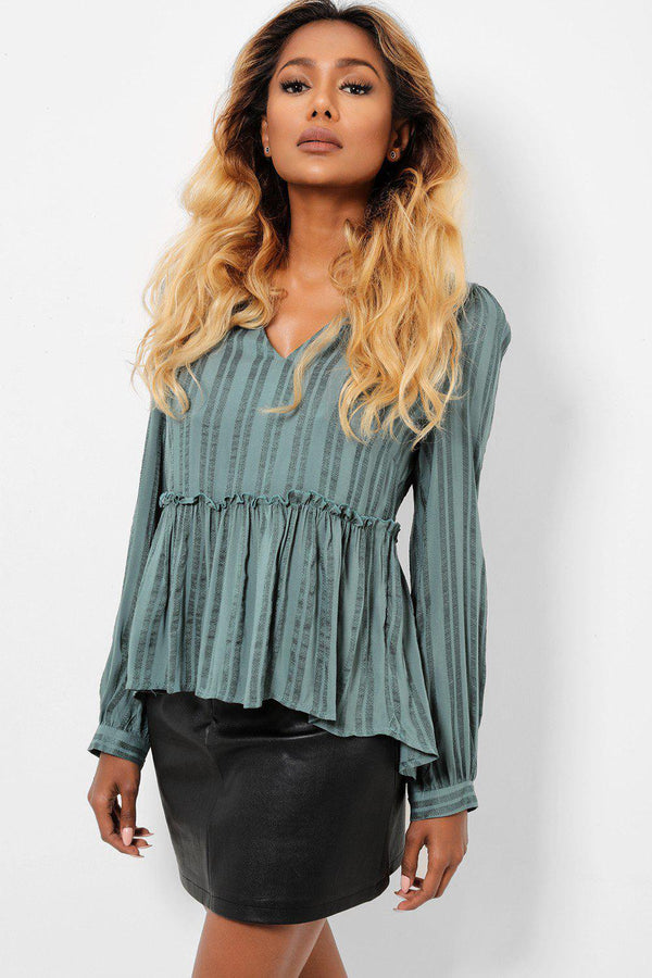 Frilled Hem Strippy Teal Blouse-SinglePrice