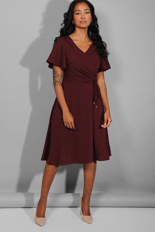 Burgundy Side Ruched Midi Dress - SinglePrice