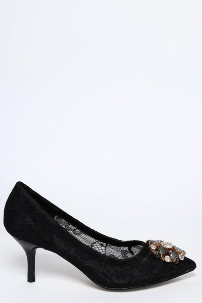 Black Lace Bejewelled Court Shoe-SinglePrice