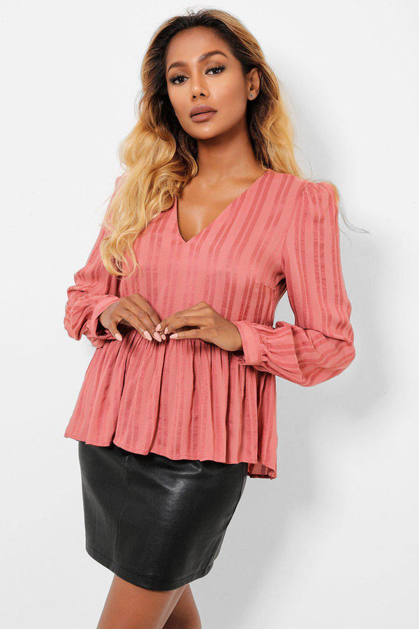 Frilled Hem Strippy Dusty Pink Blouse-SinglePrice