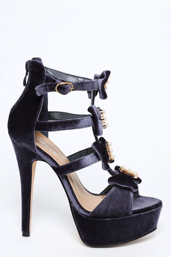 Grey Velvet Stiletto Platform Sandal with Pearls and Bows - SinglePrice