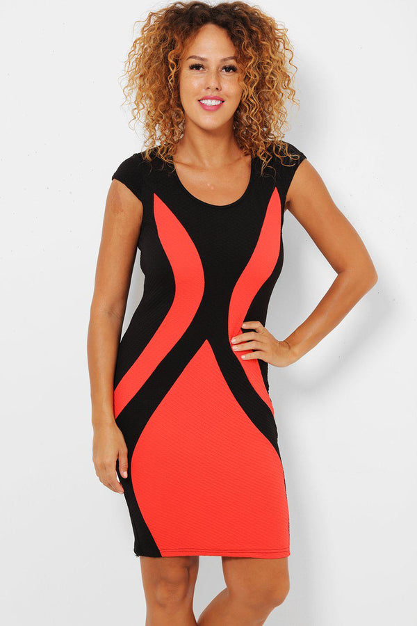Coral Color-Block Bodycon Dress - SinglePrice