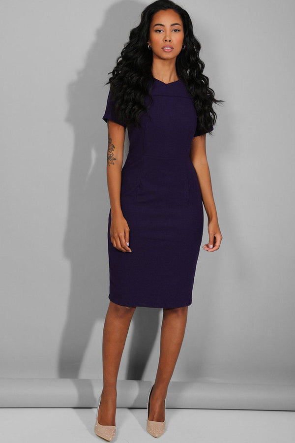 Dark Purple Smart Casual Bodycon Midi Dress - SinglePrice