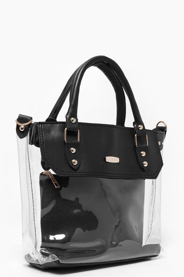 2-In-1 Black Perspex Small Tote-SinglePrice