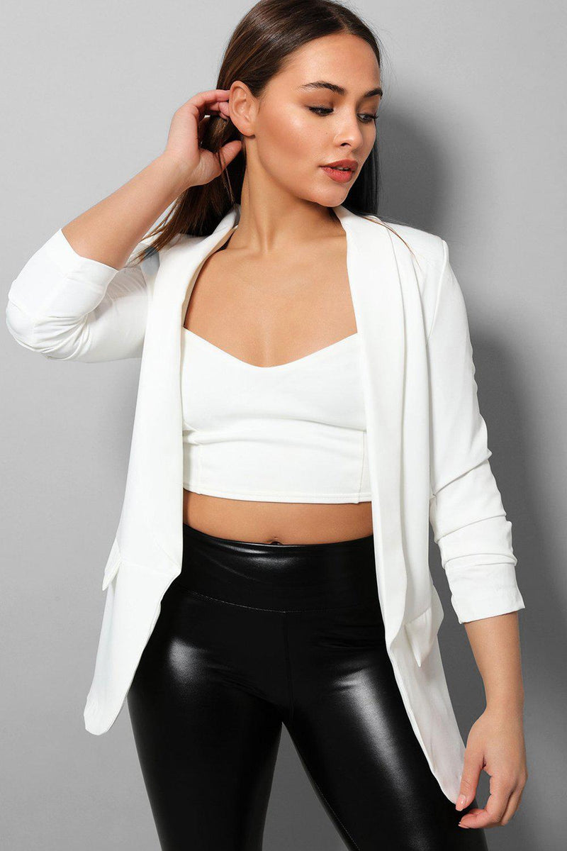White Ruched Sleeves Open Blazer - SinglePrice