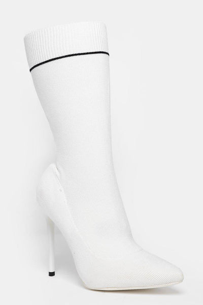 White Knitted Sock Ankle Boots-SinglePrice