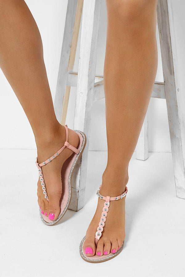 Pink Studded T-Bar Flat Sandals-SinglePrice