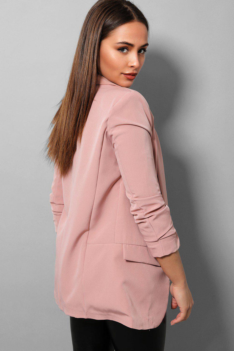 Pink Ruched Sleeves Open Blazer - SinglePrice