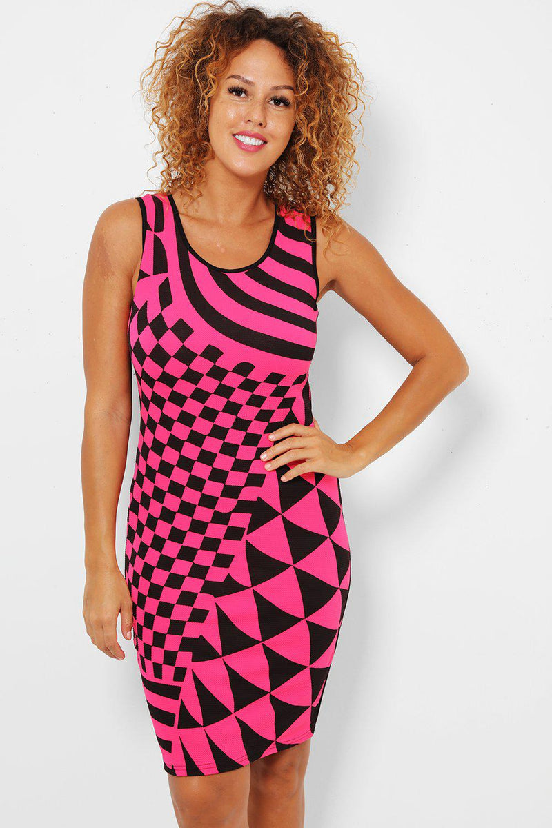 Pink Geo Print Bodycon Dress - SinglePrice