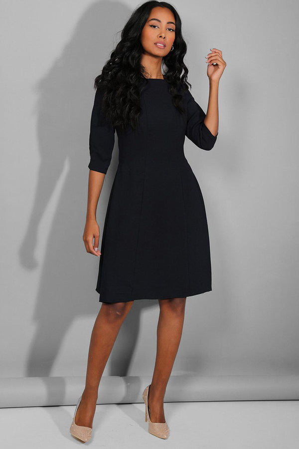 Navy 3/4 Sleeves Classic Midi Dress - SinglePrice