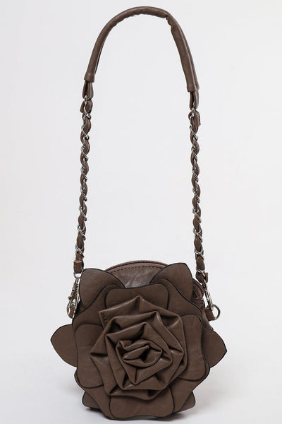 Zip Top Brown Grey Flower Small Round Bag-SinglePrice