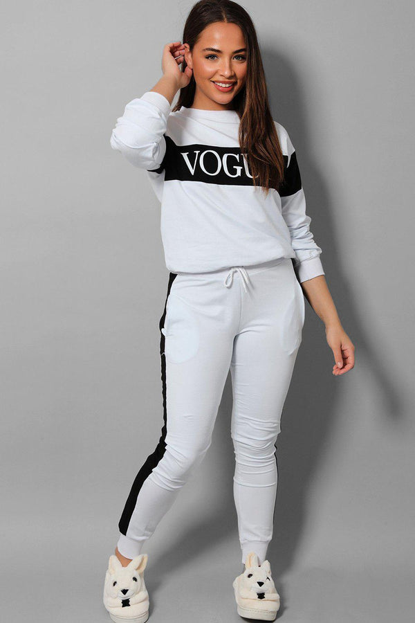 White Black Slogan Cotton Blend 2 Piece Tracksuit - SinglePrice