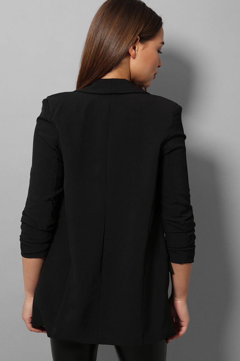 Black Ruched Sleeves Open Blazer - SinglePrice