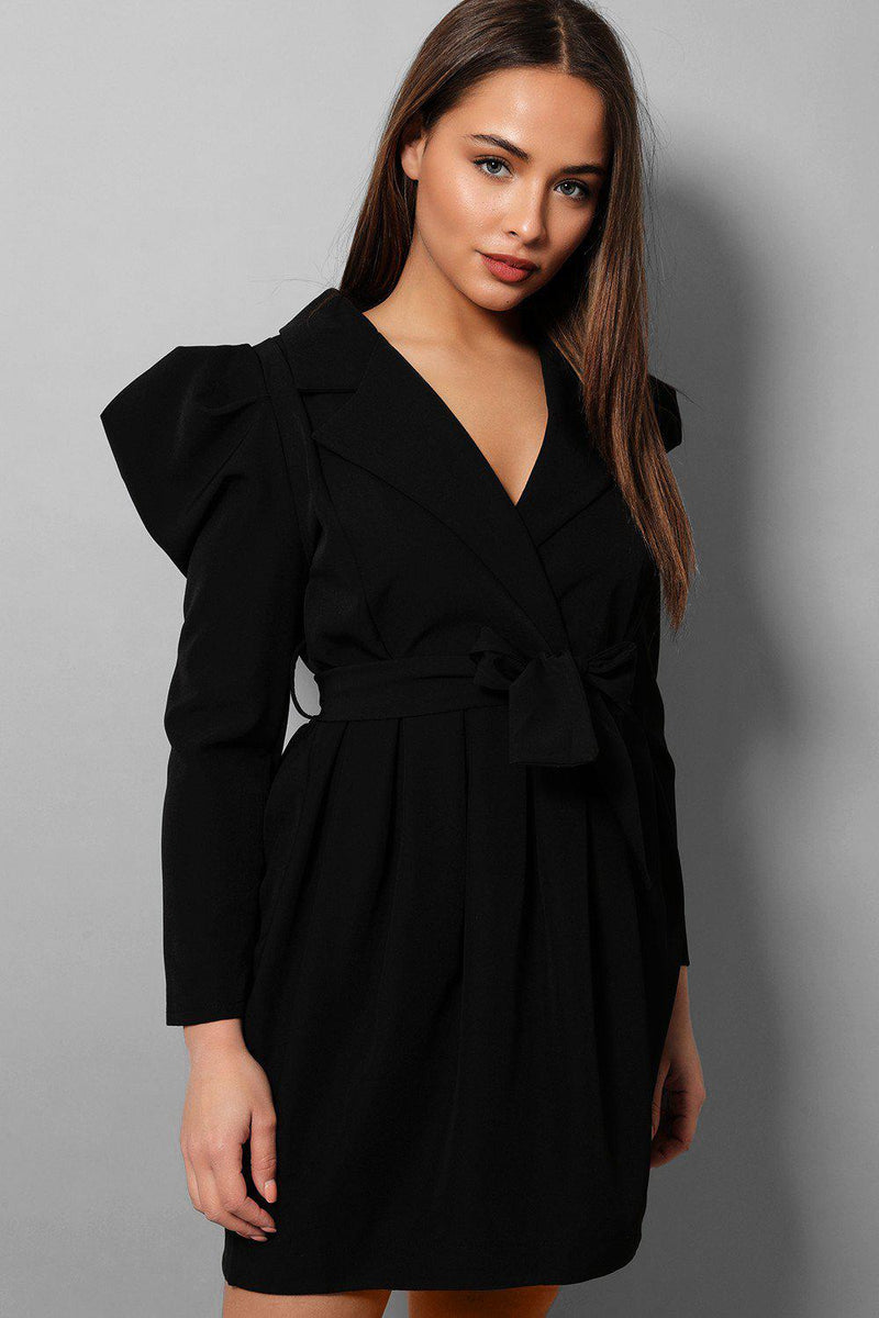 Black Puff Sleeves Tailored Blazer Dress - SinglePrice