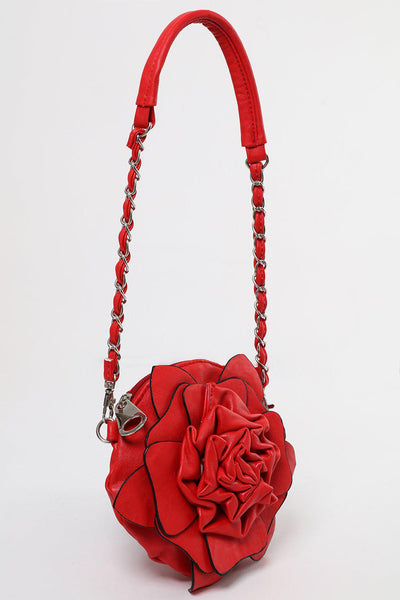 Zip Top Red Flower Small Round Bag-SinglePrice