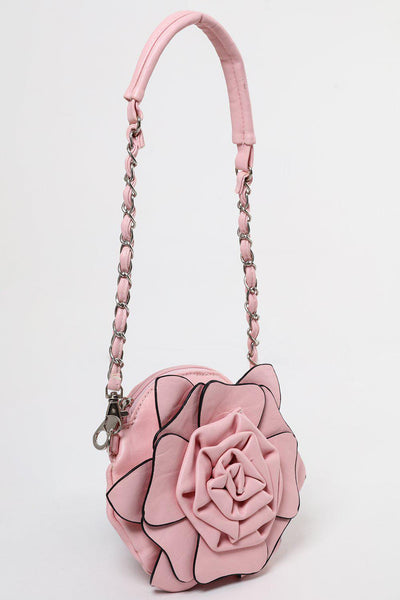 Zip Top Pink Flower Small Round Bag-SinglePrice