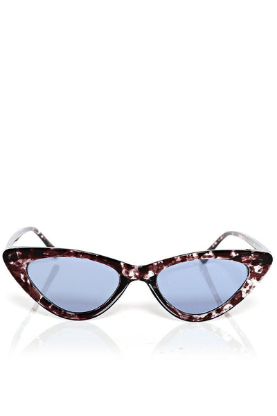 Silver Flake Frame Skinny Cat Eye Sunglasses-SinglePrice