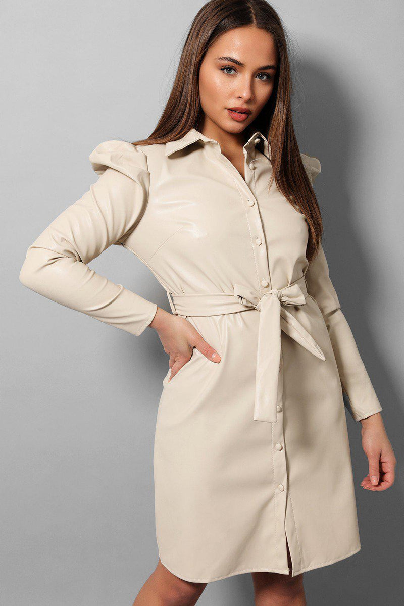 Cream Vegan Leather Puff Sleeves Shirt Dress - SinglePrice