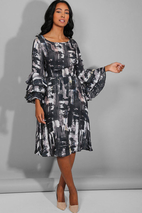 Black Abstract Print Large Frill Sleeves Midi Dress - SinglePrice