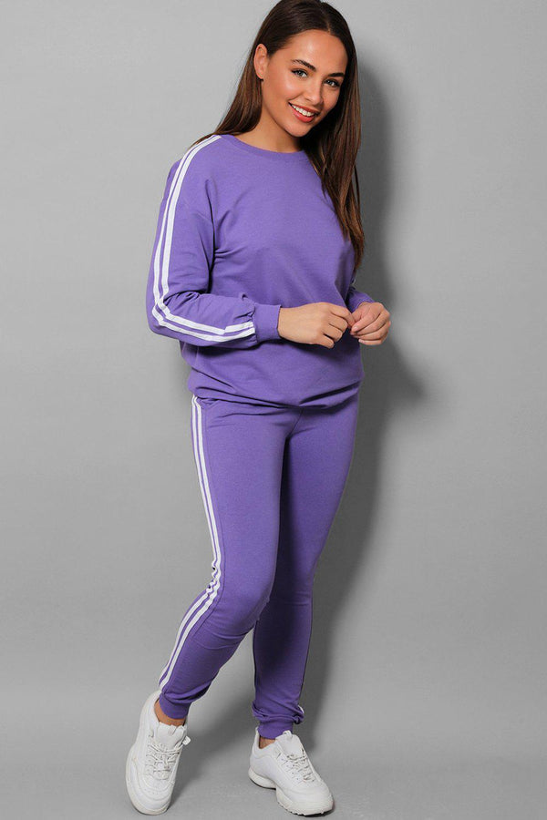 Purple Slogan Back Side Twin Stripe Detail 2 Piece Tracksuit - SinglePrice