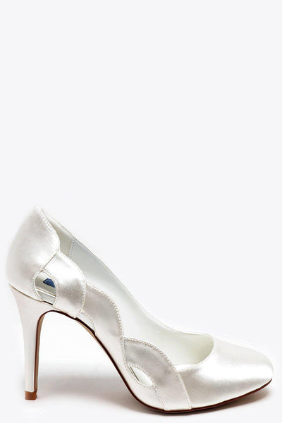 Cut Out Side Round Toe Cream Satin Heels-SinglePrice