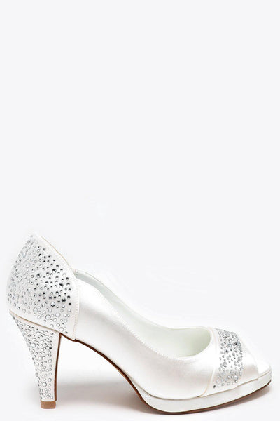 Encrusted Heel And Toe Strap Cream Satin Peep Toe Heels-SinglePrice
