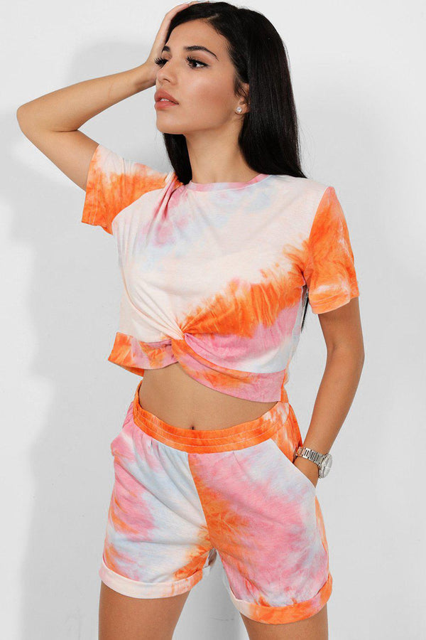 Orange Tie-Dye Knot Detail Top And Shorts Set - SinglePrice