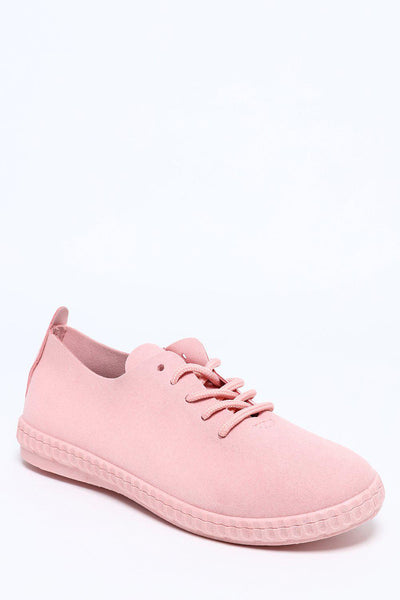 Vegan Suede Pink Laced Trainers-SinglePrice