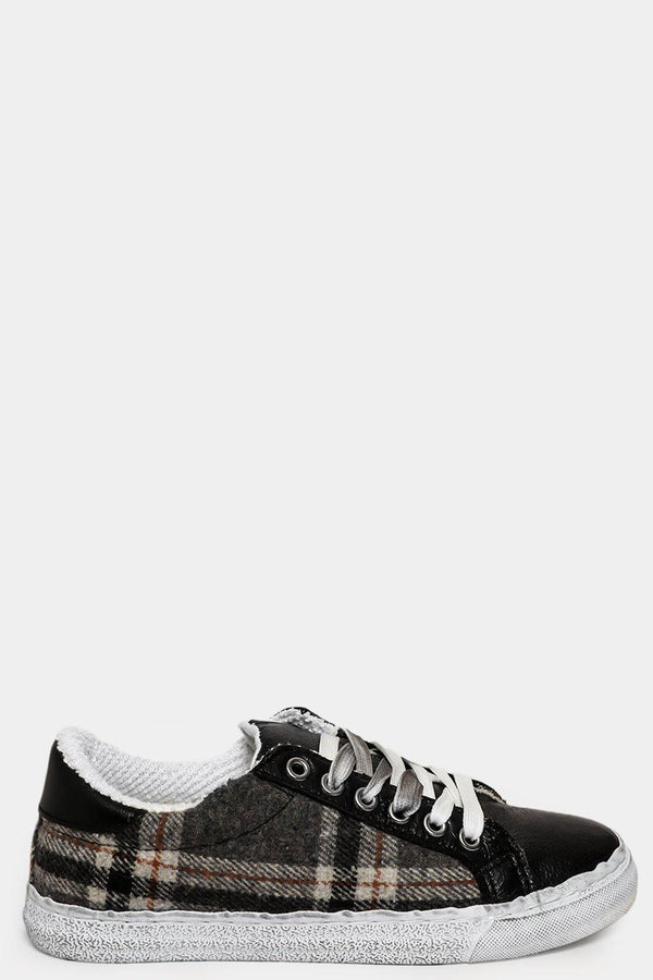 Black Foil Details Checked Trainers-SinglePrice