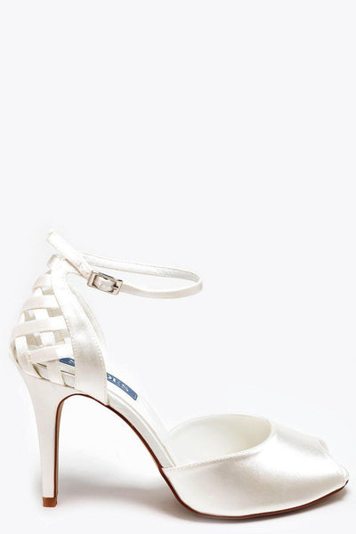 Woven Back Cream Satin Heels-SinglePrice