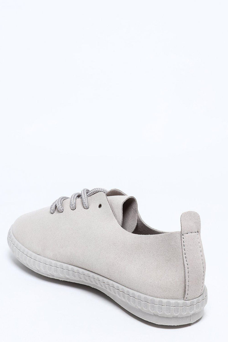 Vegan Suede Grey Laced Trainers-SinglePrice
