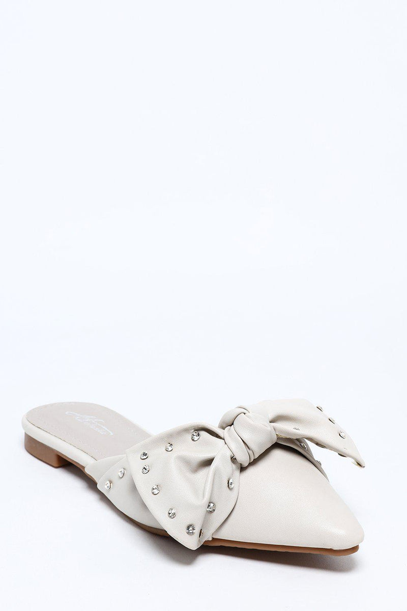 Point Toe Grey Jewelled Bow Slippers - SinglePrice