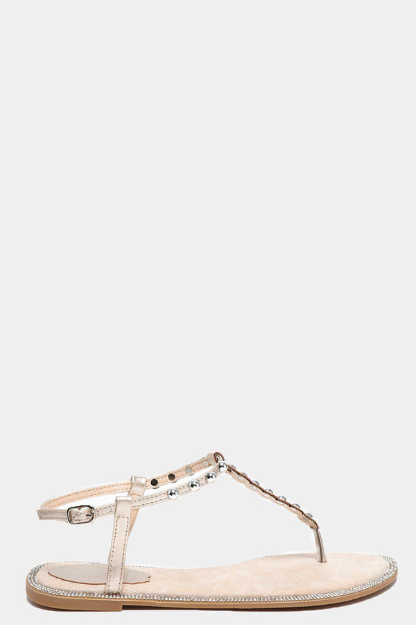 Light Gold Studded T-Bar Flat Sandals-SinglePrice