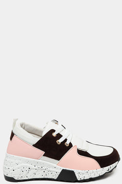 Pink Ink Splash Platform Patchwork Chunky Trainers - SinglePrice