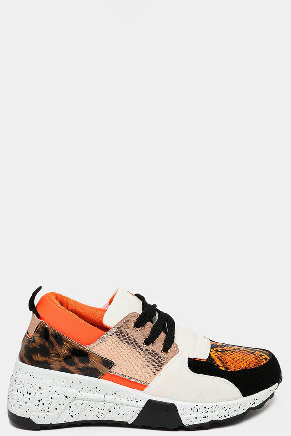 Orange Ink Splash Platform Patchwork Chunky Trainers - SinglePrice