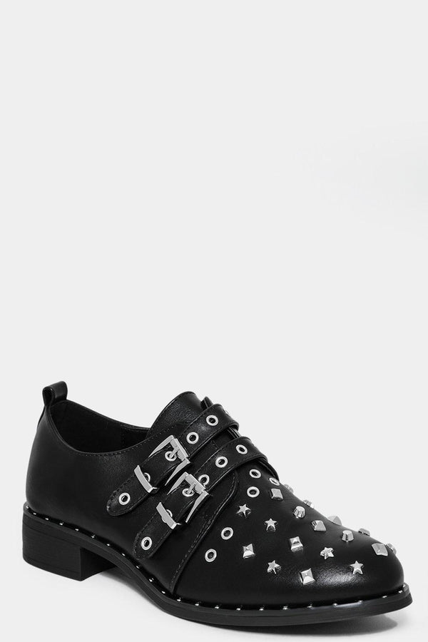 Mixed Star Studs Black Flat Shoes-SinglePrice